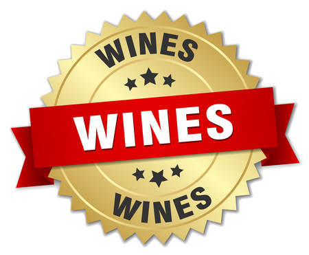 wines: wines 3d gold badge with red ribbon Illustration
