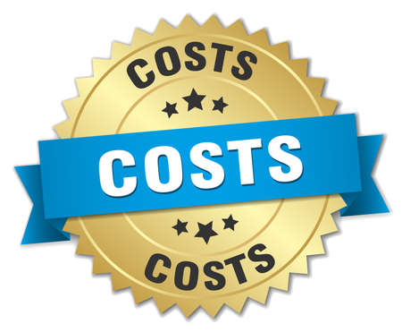 costs: costs 3d gold badge with blue ribbon