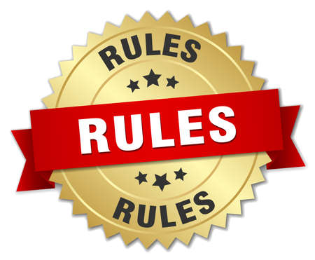 golden rule: rules 3d gold badge with red ribbon