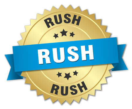 gold rush: rush 3d gold badge with blue ribbon