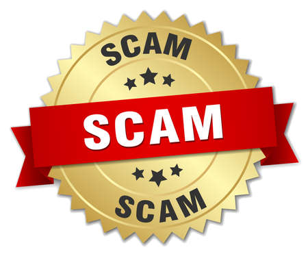 scam: scam 3d gold badge with red ribbon