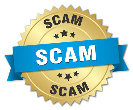 scam: scam 3d gold badge with blue ribbon
