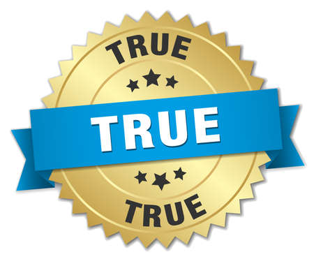 true: true 3d gold badge with blue ribbon