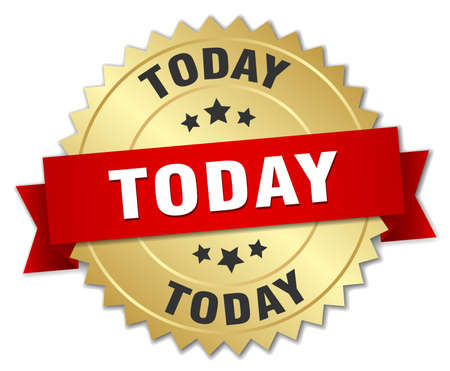 today: today 3d gold badge with red ribbon