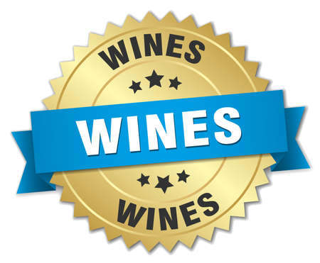 wines: wines 3d gold badge with blue ribbon Illustration