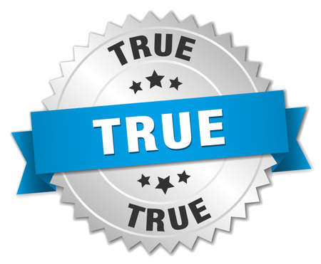 true: true 3d silver badge with blue ribbon