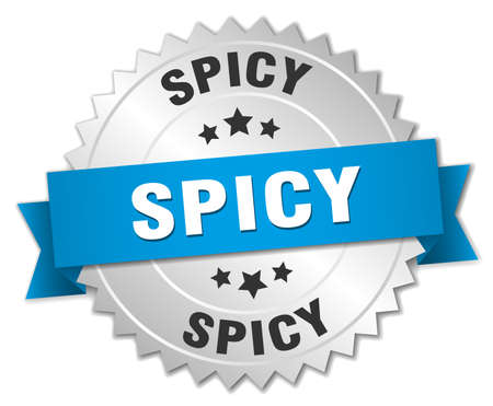 spicy: spicy 3d silver badge with blue ribbon