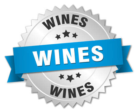 wines: wines 3d silver badge with blue ribbon Illustration