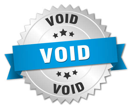 void: void 3d silver badge with blue ribbon