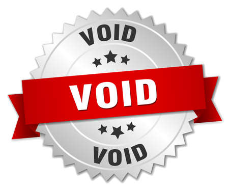 void: void 3d silver badge with red ribbon