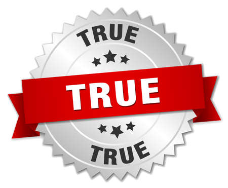 true: true 3d silver badge with red ribbon