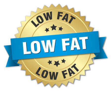 low fat: low fat 3d gold badge with blue ribbon