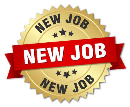 new job: new job 3d gold badge with red ribbon Illustration