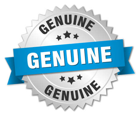 genuine: genuine 3d silver badge with blue ribbon Illustration