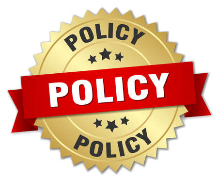 policy: policy 3d gold badge with red ribbon