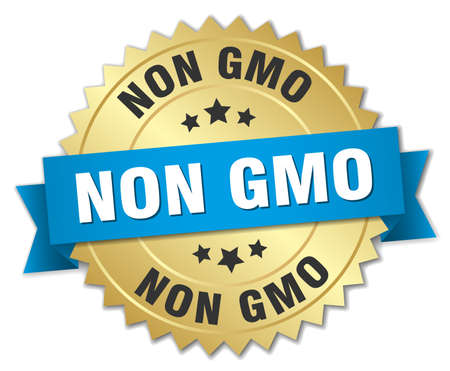 genetically modified organisms: non gmo 3d gold badge with blue ribbon Illustration