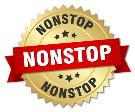 nonstop: nonstop 3d gold badge with red ribbon Illustration