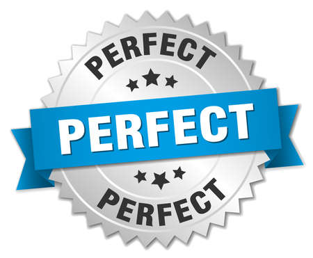 perfect 3d silver badge with blue ribbon Illustration