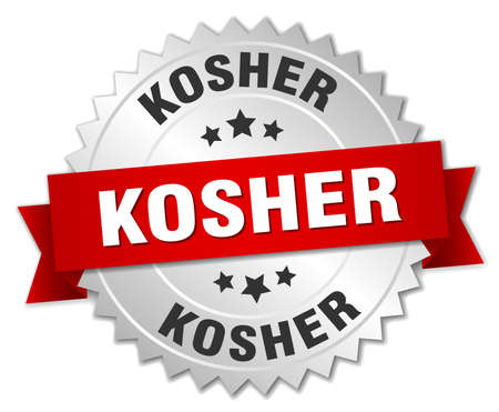 kosher: kosher 3d silver badge with red ribbon