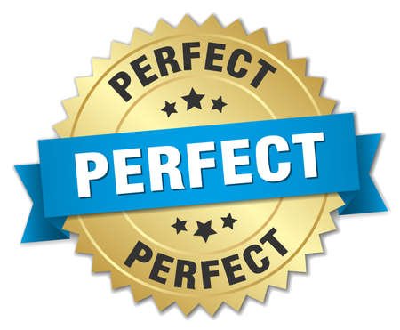 perfect 3d gold badge with blue ribbon Illustration