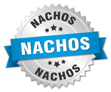 nachos: nachos 3d silver badge with blue ribbon Illustration