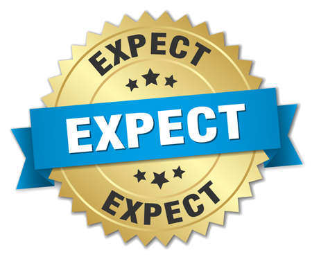 expect: expect 3d gold badge with blue ribbon