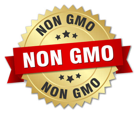 non: non gmo 3d gold badge with red ribbon