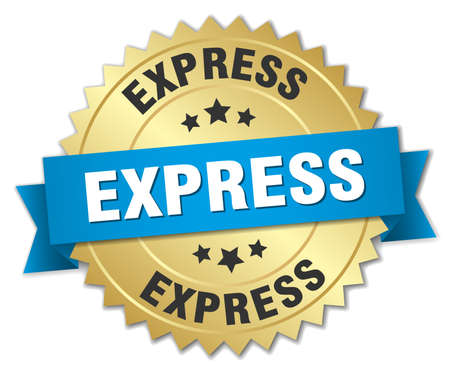 express: express 3d gold badge with blue ribbon