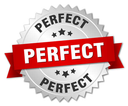 perfect 3d silver badge with red ribbon