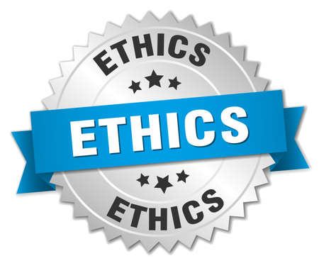 ethics: ethics 3d silver badge with blue ribbon
