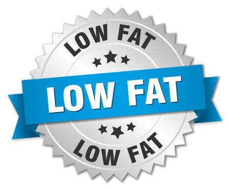 low fat: low fat 3d silver badge with blue ribbon Illustration