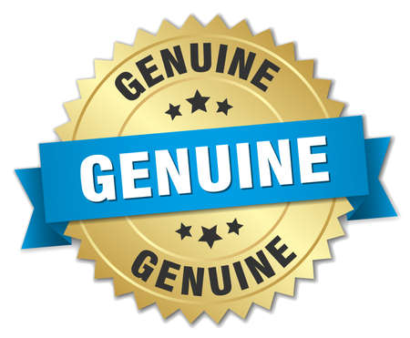 genuine: genuine 3d gold badge with blue ribbon