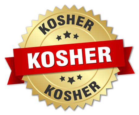 kosher: kosher 3d gold badge with red ribbon