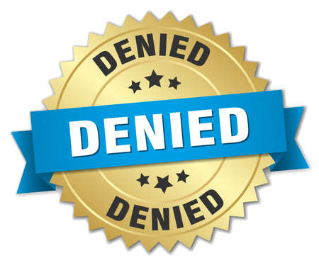 denied: denied 3d gold badge with blue ribbon Vectores