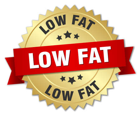 low fat: low fat 3d gold badge with red ribbon