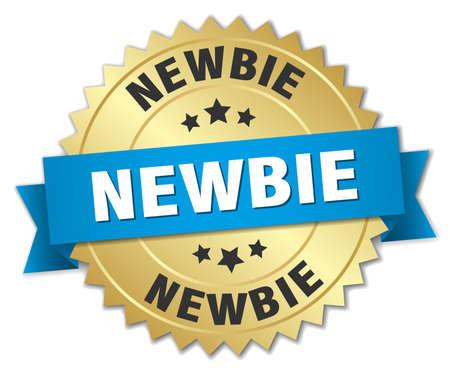 newbie: newbie 3d gold badge with blue ribbon