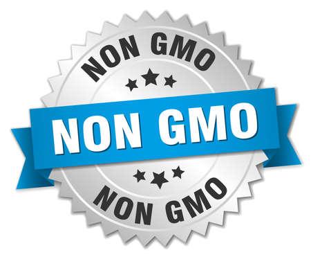 non: non gmo 3d silver badge with blue ribbon