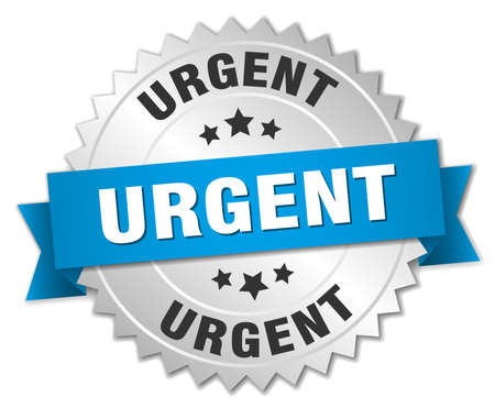 urgent: urgent 3d silver badge with blue ribbon Illustration