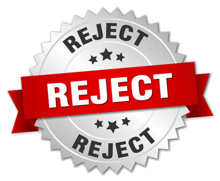 reject: reject 3d silver badge with red ribbon