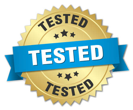 tested: tested 3d gold badge with blue ribbon Illustration