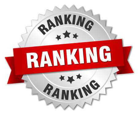 ranking: ranking 3d silver badge with red ribbon Illustration