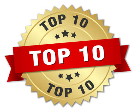 top 10: top 10 3d gold badge with red ribbon