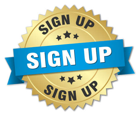 sign up 3d gold badge with blue ribbon