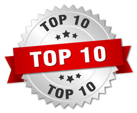 top 10: top 10 3d silver badge with red ribbon Illustration