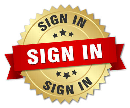 sign in: sign in 3d gold badge with red ribbon
