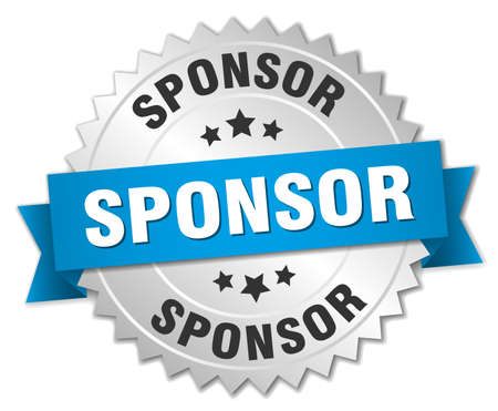 sponsor: sponsor 3d silver badge with blue ribbon