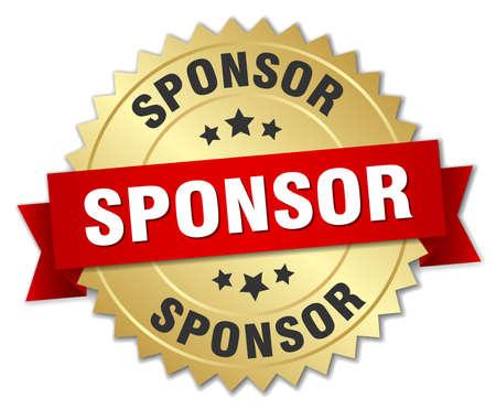 sponsor: sponsor 3d gold badge with red ribbon Illustration