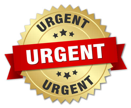 urgent: urgent 3d gold badge with red ribbon