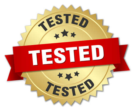 tested: tested 3d gold badge with red ribbon