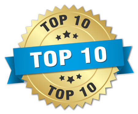 top 10: top 10 3d gold badge with blue ribbon